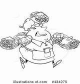 Waitress Cartoon Fat Line Many Leishman Ron Clipart Illustration Carrying Plates Female Toonaday Royalty Illustrationsof Rf Copyright sketch template