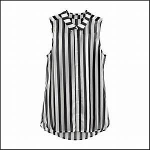 Women's Fashion Style Black and White Vertical Stripes ...