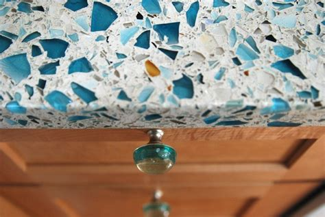 Recycled Glass Bathroom Countertops by Floating Blue Vetrazzo Maple Cabinets And Recycled Glass