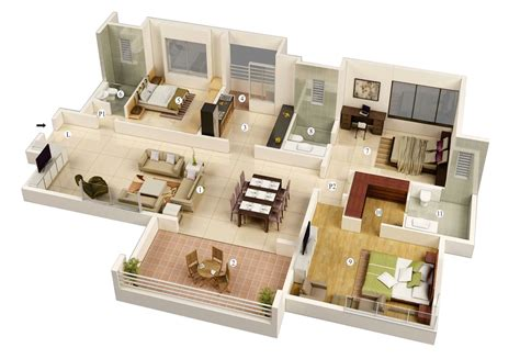 house plans 3 bedroom free 3 bedrooms house design and lay out