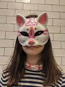 White, And, Pink, Therian, Furry, Fandom, Hand, Painted, Mask