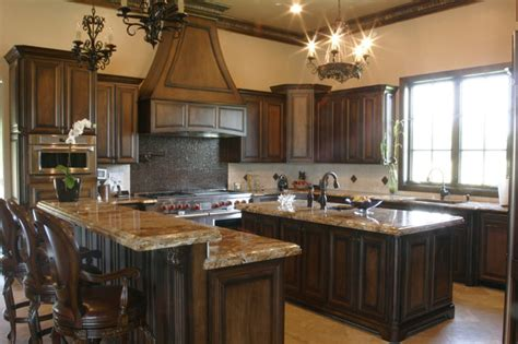 tones style  kitchen colors  dark wood cabinets  kitchen interior