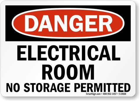 Electrical Room No Storage Permitted Danger Sign, Sku S