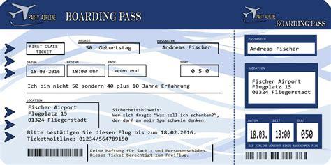 einladungskarten flugticket blau geburtstag