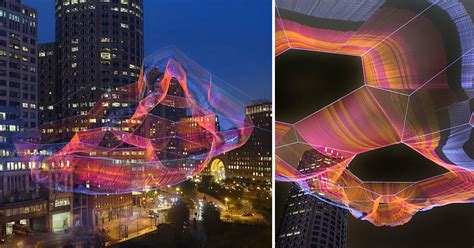 monumental sculpture  colorful twine netting suspended