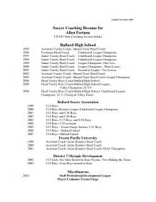Coaching Resume With No Experience by High School Soccer Coach Resume Coaching How To Become A