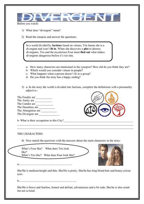Movie Worksheet Divergent