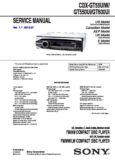 sony cdx gt550ui cdx gt55uiw cdx gt600ui service manual free