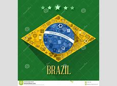 Brazil soccer flags symbol stock vector Image of yellow