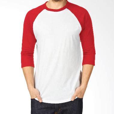 jual kaosyes kaos polos t shirt raglan lengan 3 4 putih merah harga kualitas terjamin