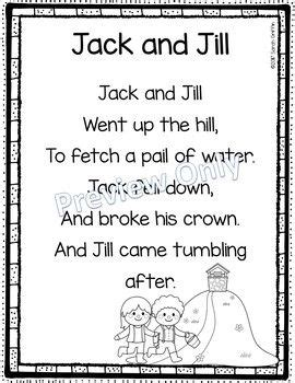 jack  jill printable nursery rhyme poem  kids