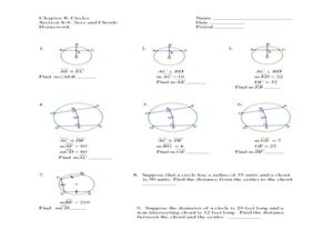 arcs and chords homework worksheet for 9th 12th grade lesson planet