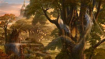Fantasy Dragon Castle Tree Artistic Landscapes Landscape