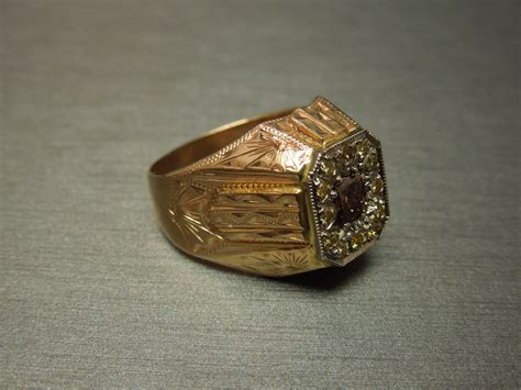 mens deco ring 1 35 tcw engraved