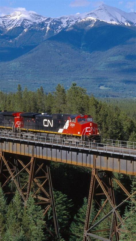 canadian national railway mountains trains wallpaper