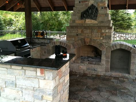 outdoor brick kitchen designs outdoor kitchen with fireplace traditional patio 3818