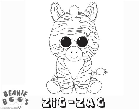 Kleurplaat Beanie Boo by Beanie Boo Coloring Pages Zig Zag Free Printable