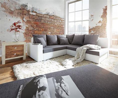 Ecksofa Lavello 210x210 Cm Weiss Grau Sofa Mit Hocker