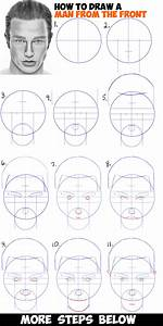How to Draw a Man's Face from the Front View (Male) Easy ...