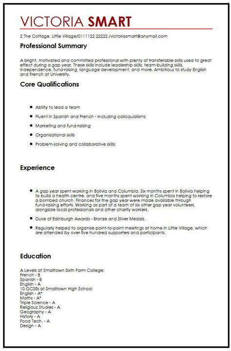 How To Write Cv Form by Cv Exle With Gap Year Myperfectcv