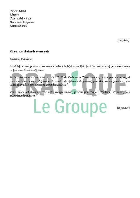 annulation commande cuisine lettre d 39 annulation d 39 une commande pratique fr
