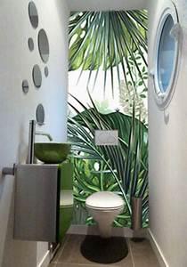 Papier Peint Pour Wc : papier peint trompe l il jungle tropicale nouveaut ~ Nature-et-papiers.com Idées de Décoration