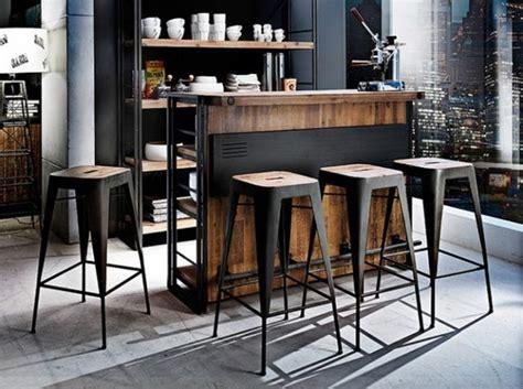 achat bar cuisine tabourets cuisine industriel vintage noir bois déco
