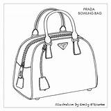 Bag Prada Designer Drawing Sketch Handbag Sketches Handbags Bags Illustration Cad Coloring Bowling Pages Leather Purse Borsa Disegno Purses Prices sketch template