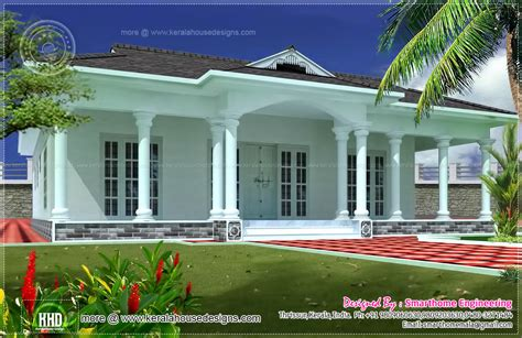 Home Design Kerala Style Single Floor : 1600 Sq-ft Single Story 3 Bed Room Villa