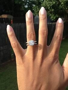 My henri daussi split shank cushion ring weddingbee for Split shank engagement ring with wedding band