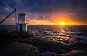Wallpaper Sea  Wave  Stones  Coast  Lighthouse  Sweden