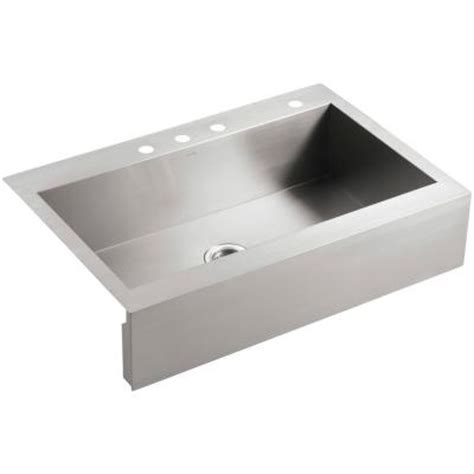 top mount apron sink kohler vault top mount apron front stainless steel 36 in