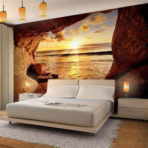 wandtapete schlafzimmer vlies fototapete strand mit sonnenuntergang dekodealz de