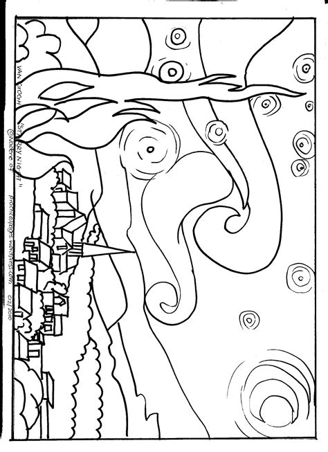 vincent van gogh starry night coloring page coloring pages