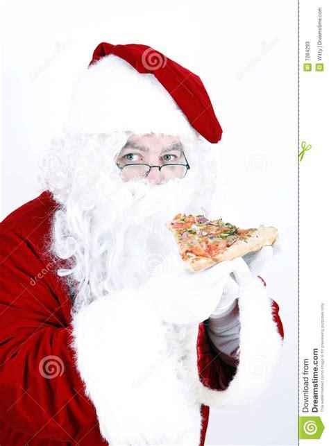 santa claus smiling  eating pizza stock image image