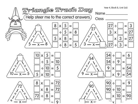 triangle track day a year 4 times tables worksheet