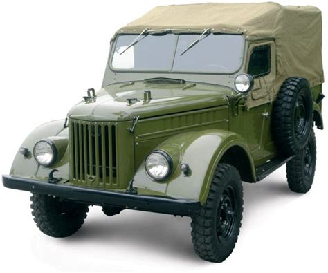 military jeep side gaz 69 with canvas top cover and side windows on