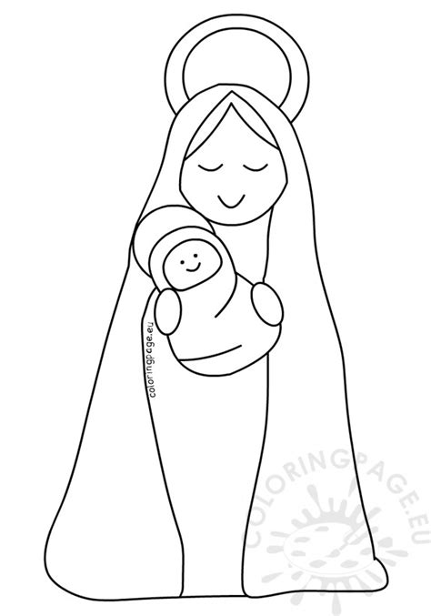 mother mary  baby jesus printable coloring page
