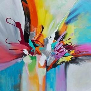 Tableau Peinture Sur Toile : tableau peinture sur toile borealis contemporain 80x80 cm painting pinterest paintings ~ Teatrodelosmanantiales.com Idées de Décoration