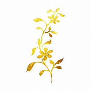 Temporary Tattoo Floral Vine Design 24K Yellow Gold ...