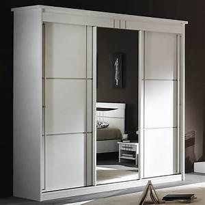 Armoire 3 Portes Miroir Coulissantes Mareva Blanc