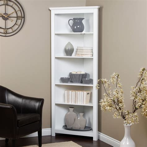 White Wooden Tall Corner Shelves With Three Row Shelf And