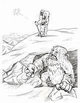 Bigfoot Coloring Pages Yeti Sasquatch Abominable Snowman Template Kolorowanki Clipart Printable Sheet Disney Getdrawings Library Popular Happy sketch template