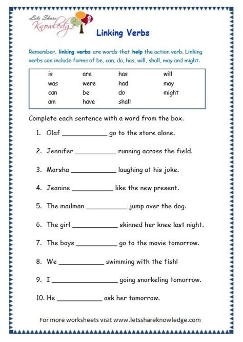 grade  grammar topic  helping verbs worksheets