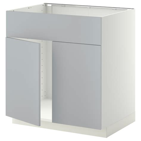 metod base cabinet f sink w 2 doors front white veddinge