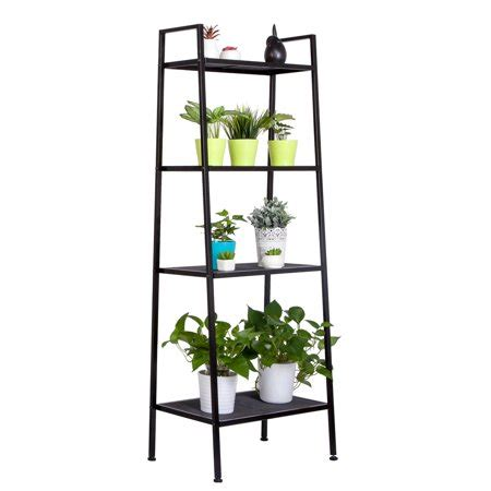 Leaning Bookcase Walmart by Zimtown 4 Tier Leaning Ladder Shelf Bookcase Bookshelf