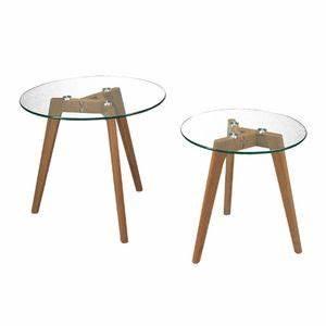 Table Basse Pied Bois : table plateau verre pied bois achat vente table plateau ~ Teatrodelosmanantiales.com Idées de Décoration
