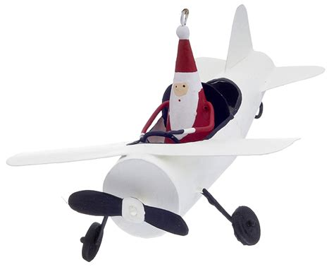santa in airplane christmas ornament santa