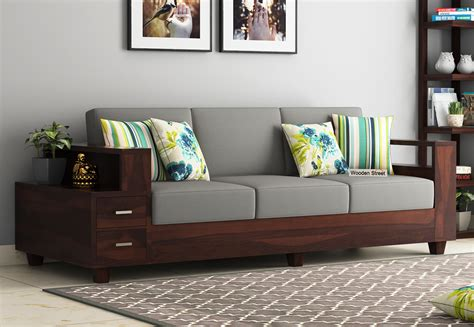 buy solace 3 seater wooden sofa walnut finish in