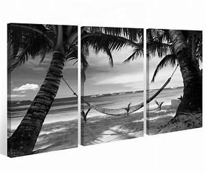 Schwarz Weiß Bilder Gerahmt : leinwand 3 tlg schwarz wei palme landschaft meer strand bilder see water 9a419 holz fertig ~ Watch28wear.com Haus und Dekorationen